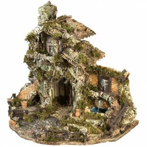 Nativity village with stable and fountain 58x48x38cm s7