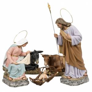 Nativity with donkey and ox in wood pulp, 40cm s1