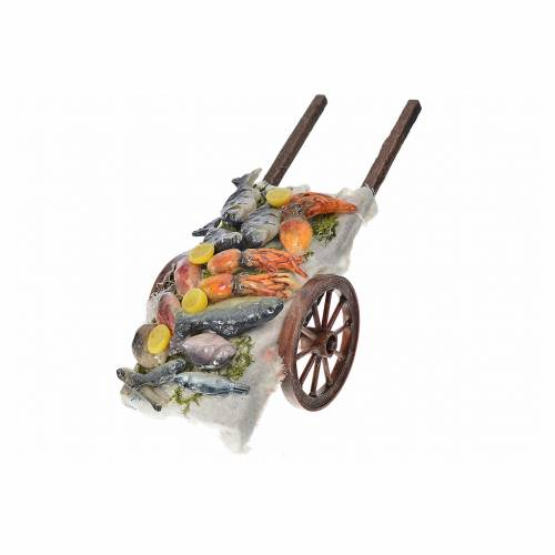 Neapolitan Nativity accessory, fish cart in wax 6x15x6cm s2