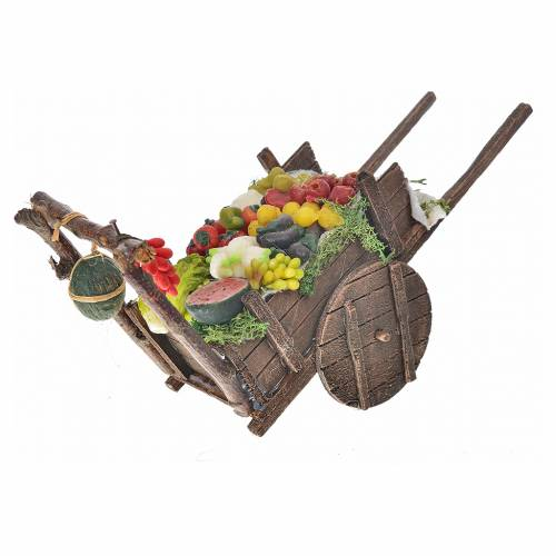 Neapolitan Nativity accessory, fruit and vegetable cart in wax 8 s2