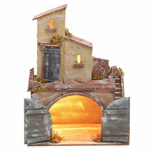 Neapolitan nativity accessory, illuminated stable with double do s1