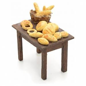 Neapolitan nativity accessory, table with bread basket 12cm s2