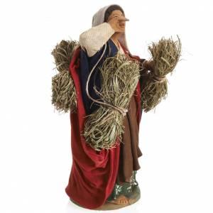 Neapolitan Nativity figurine, female farmer with bundles, 14 cm s3