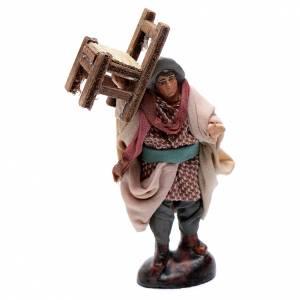 Neapolitan Nativity figurine, man carrying chair, 8 cm s1