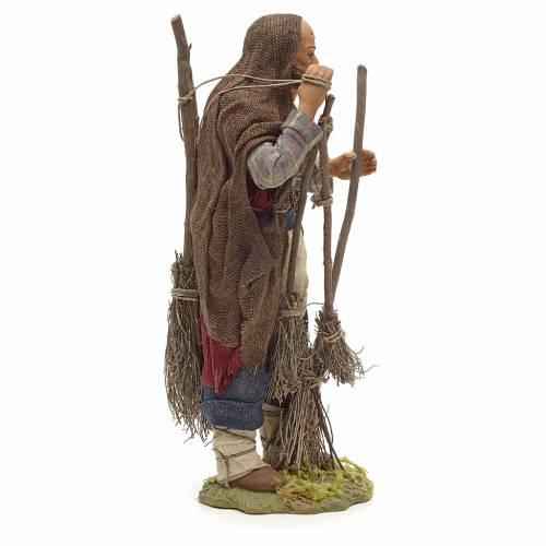 Neapolitan Nativity figurine, man with brooms, 24 cm s4