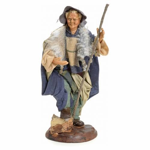 Neapolitan Nativity figurine, man with stick, 18 cm s1
