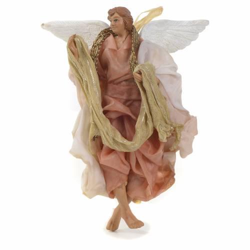 Neapolitan Nativity figurine, pink angel 14cm s1