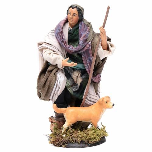 Neapolitan Nativity figurine, shepherd with dog, 18 cm s1