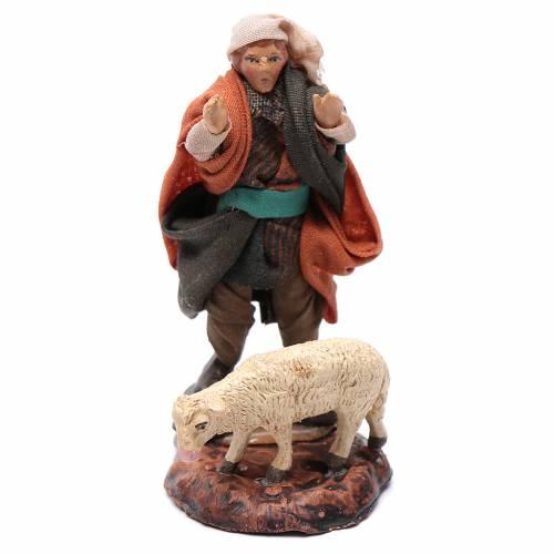 Neapolitan nativity figurine, shepherd with sheep, 8cm s1