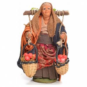 Neapolitan Nativity figurine, woman with apples, 10 cm s1