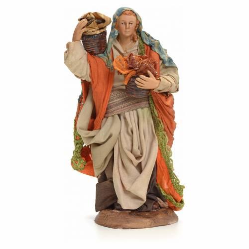 Neapolitan Nativity figurine, woman with cloth baskets, 18 cm s1