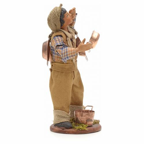 Neapolitan Nativity figurine, young boy with copper pans, 14cm s4