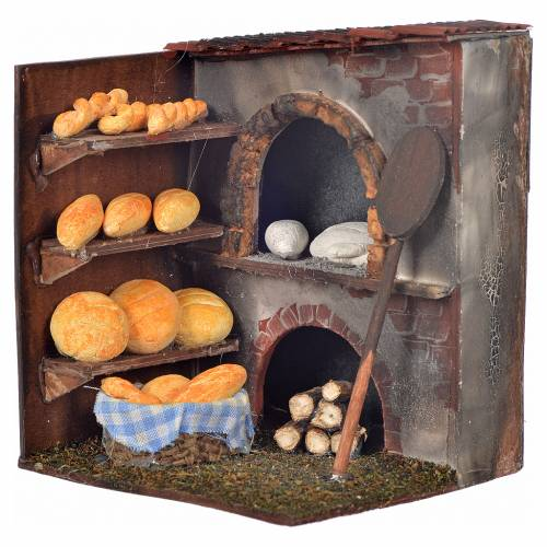 Neapolitan Nativity scene accessory, oven with bread 10x9x8cm s1