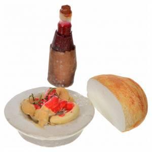 Neapolitan Nativity scene accessory, plate wine and bread 3 piec s1