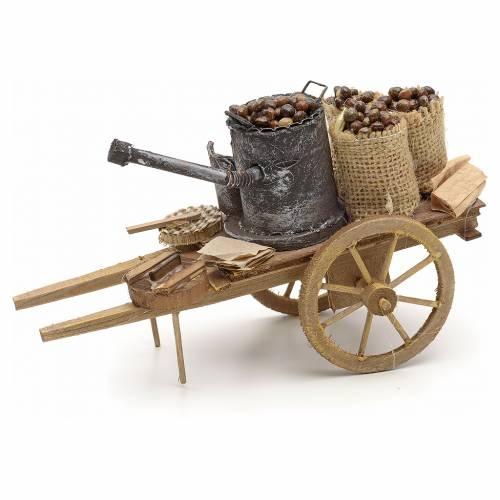 Neapolitan Nativity scene accessory, roasted chestnuts cart s3