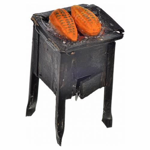 Neapolitan Nativity scene accessory, stove with corn 5x2,5cm s1