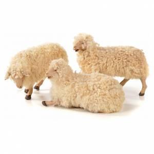 Neapolitan Nativity scene figurine, kit, 3 sheep with wool 22 cm s1