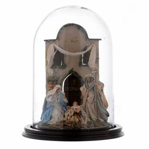 Neapolitan Nativity Scene: Neapolitan nativity scene  30x25 cm with a glass domed roof in Arabian style.