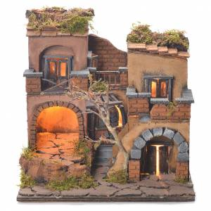 Neapolitan Nativity Village, 1700 style with oven 40x65x40cm s1