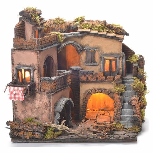 Neapolitan Nativity Village, 1700 style with well 32x35x30cm s2
