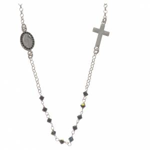 Necklace in 800 silver and black Swarowski with Miraculous Medal 3mm s1