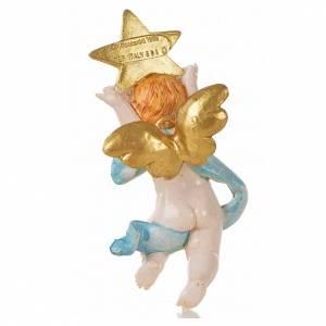 Ángel con estrella azul Fontanini 7 cm. símil porcelana s2