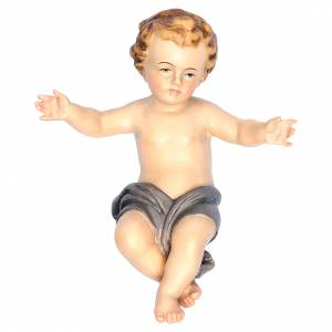 Estatuas del Niño Jesús: Niño Jesús brazos abiertos madera paño azul