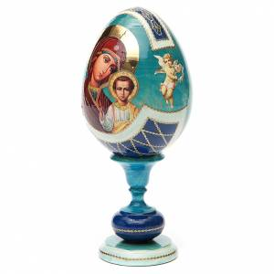 Oeuf bois découpage russe Kazanskaya h 20 cm style Fabergé s2