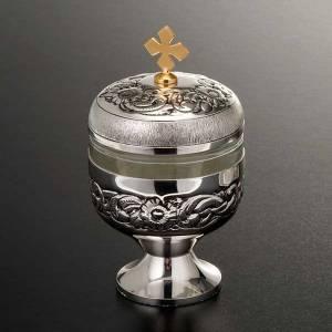 Oli santi: vasetto argentato cesellato s5