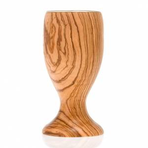Olive wood chalice with 8 cm glass cup s3