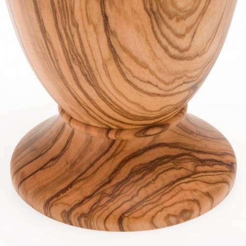Olive wood chalice with 7 cm glass cup s4