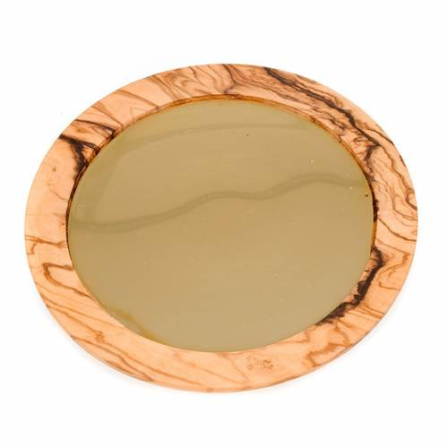 Olive wood and gold paten s4