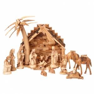 Jerusalem olive wood nativity scene: Olive wood Bethleem crib 14 cm