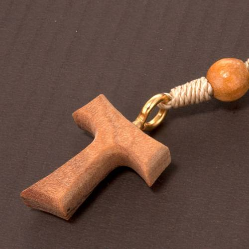 Olive wood rosary with round beads and Tau cross s2