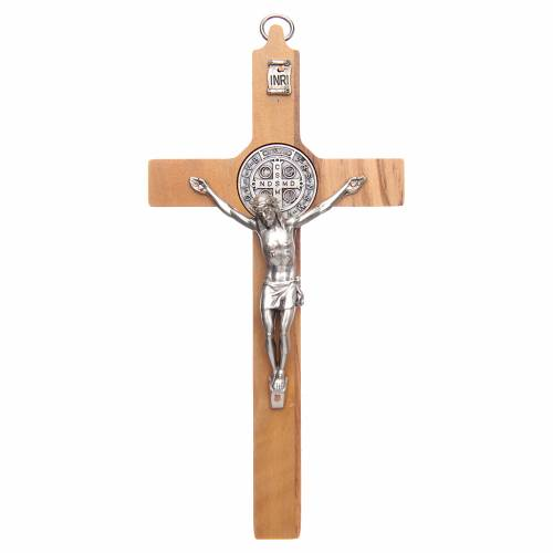 Olive wood Saint Benedict cross s1