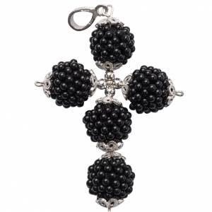Onyx cross pendant 1,5 cm pearls s1