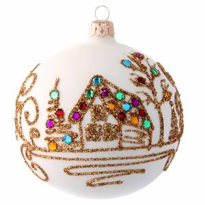Christmas balls: Opaque white Christmas ball with golden decoration 100 mm