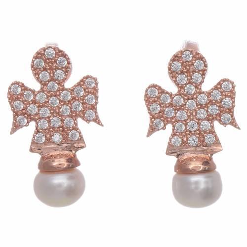 Orecchini AMEN rosè arg 925 angelo zirconi e perle s1