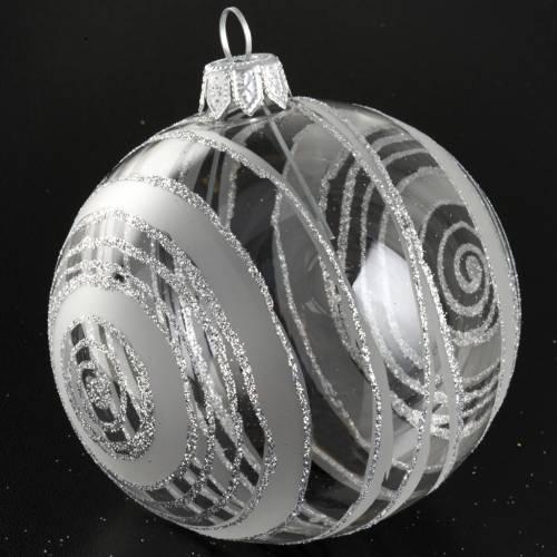 Ornement sapin spirales argentées 8 cm s3