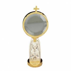 Ostensorio  teca de latón con angel cincelado diámetro 8,5 cm s1