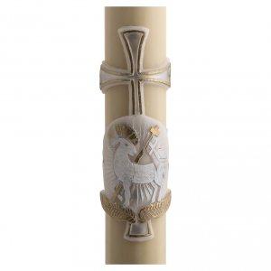 Kerzen: Osterkerze mit EINLAGE Bienenwachs silber Kreuz und Lamm 8x120cm