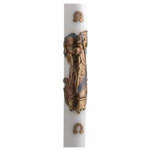 Kerzen: Osterkerze Weißwachs Auferstandener Christus 8x120 cm