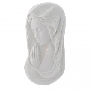Funeral products: Our lady joined hands, reconstituted marble bas-relief, 11 cm