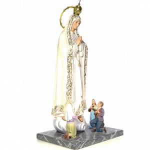 Our Lady of Fatima with seers 120cm wood paste, elegant decorati s4