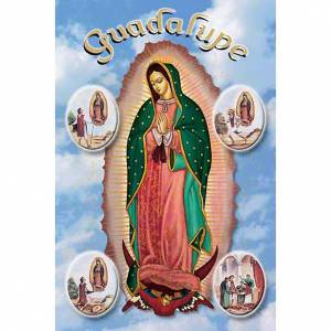 Holy cards: Our Lady of Guadalupe with scenes holy card