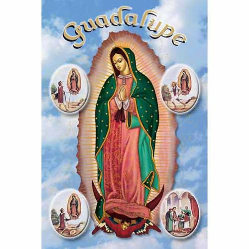 Our Lady of Guadalupe with scenes holy card s1