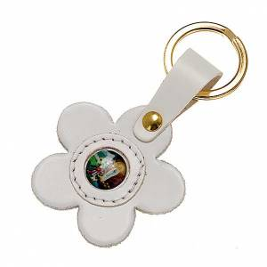 Key Rings: Our Lady of Lourdes leather key ring, flower
