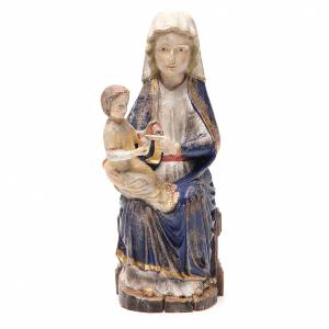 Hand painted wooden statues: Our Lady of Mariazell in Valgardena wood, old antique gold finis