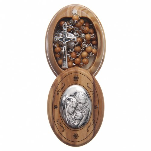 Oval case in olive wood with wooden rosary 5 mm s1