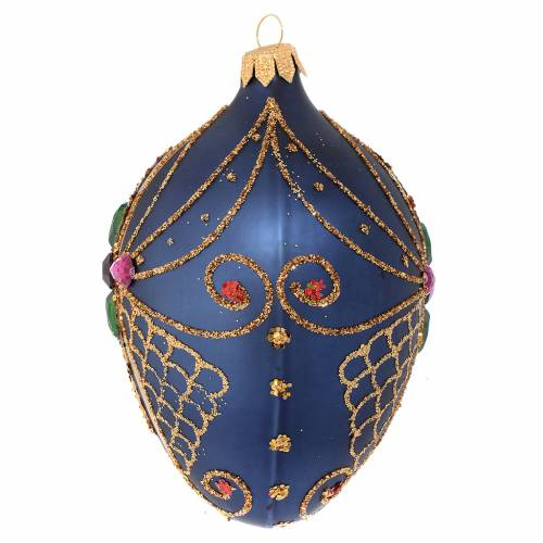 Oval Christmas bauble in blue and gold blown glass 130mm s2